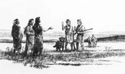 A sketch of two white men and a dog meeting three Nez Perce males.