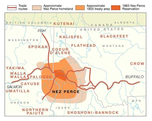 A map that shows the approximate Nez Perce homeland and its reduced land due to the 1855 and 1863 treaties.