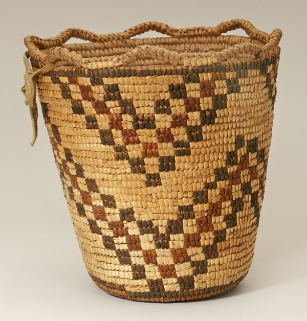 A Nez Perce basket woven from plant fibers.
