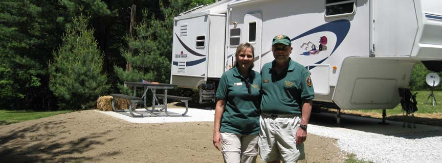 volunteers by their RV at Grandview
