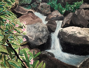 painting of stream with rhododendrons