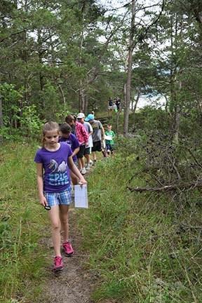 kids hiking through forest