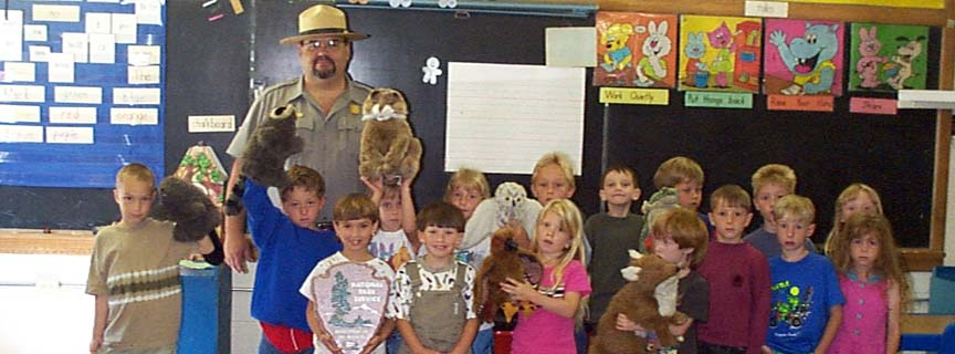 ranger in classroom with students