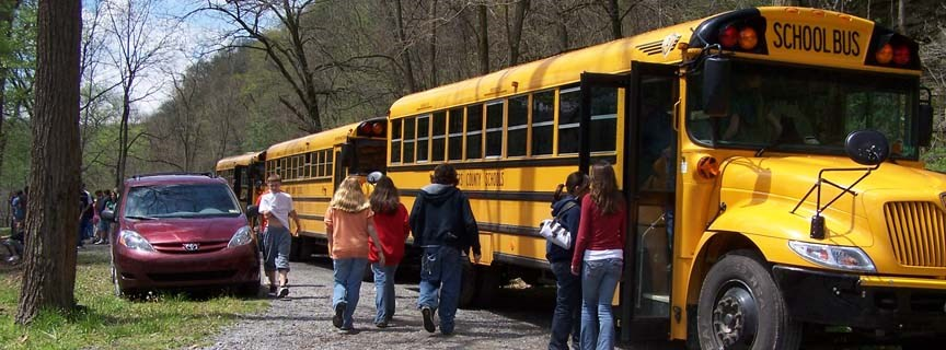 school bus and students