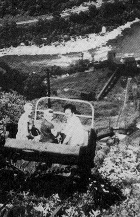 Passengers ride down the steep haulage track at the Kaymoor Mine.