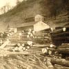historic photo of a lumber mill at Hamlet