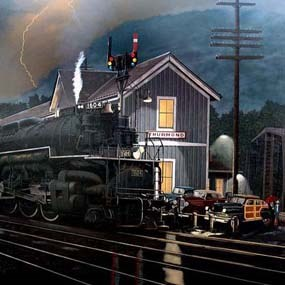 painting of Thurmond Depot with lightning