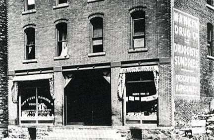 historic black and white photo of an old building