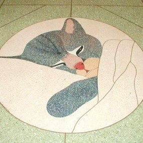 floor tile design of sleeping cat