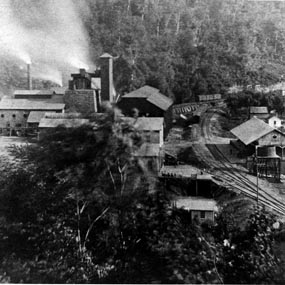 historic photo of iron furnace at Quinnimont