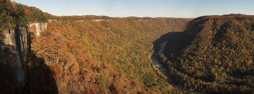 cliffs along the gorge with river below