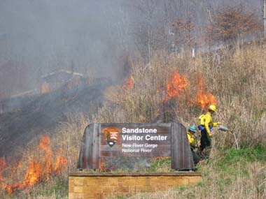Prescribed fire at Sandstone Visitor Center