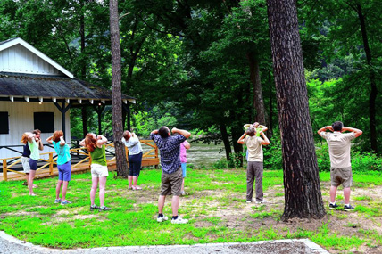visitors doing Tai Chi