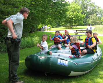 River Ranger with kids in raft
