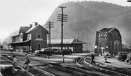 Historic photo of railroad depot