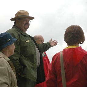 Ranger talking with visitors