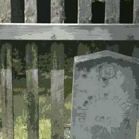 illustration of gravestone and fence