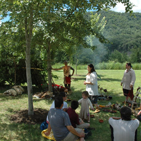 living history interpreters portray a Shawnee camp
