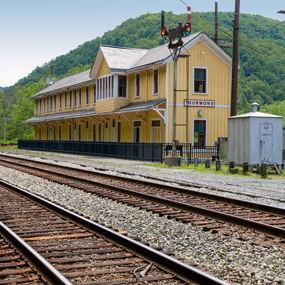 railroad depot and tracks