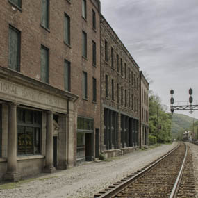 buildings and railroad tracks at Thurmond