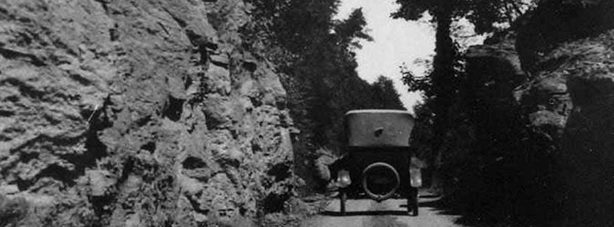 historic photo of car on Fayette Station Road
