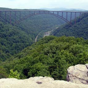 the New River Gorge Bridge spans the gorge