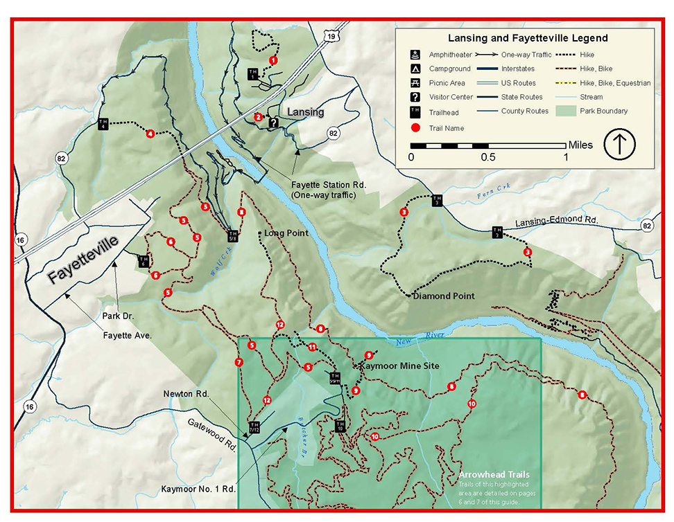 Fayetteville Area Hiking Trails Map New River Gorge National River