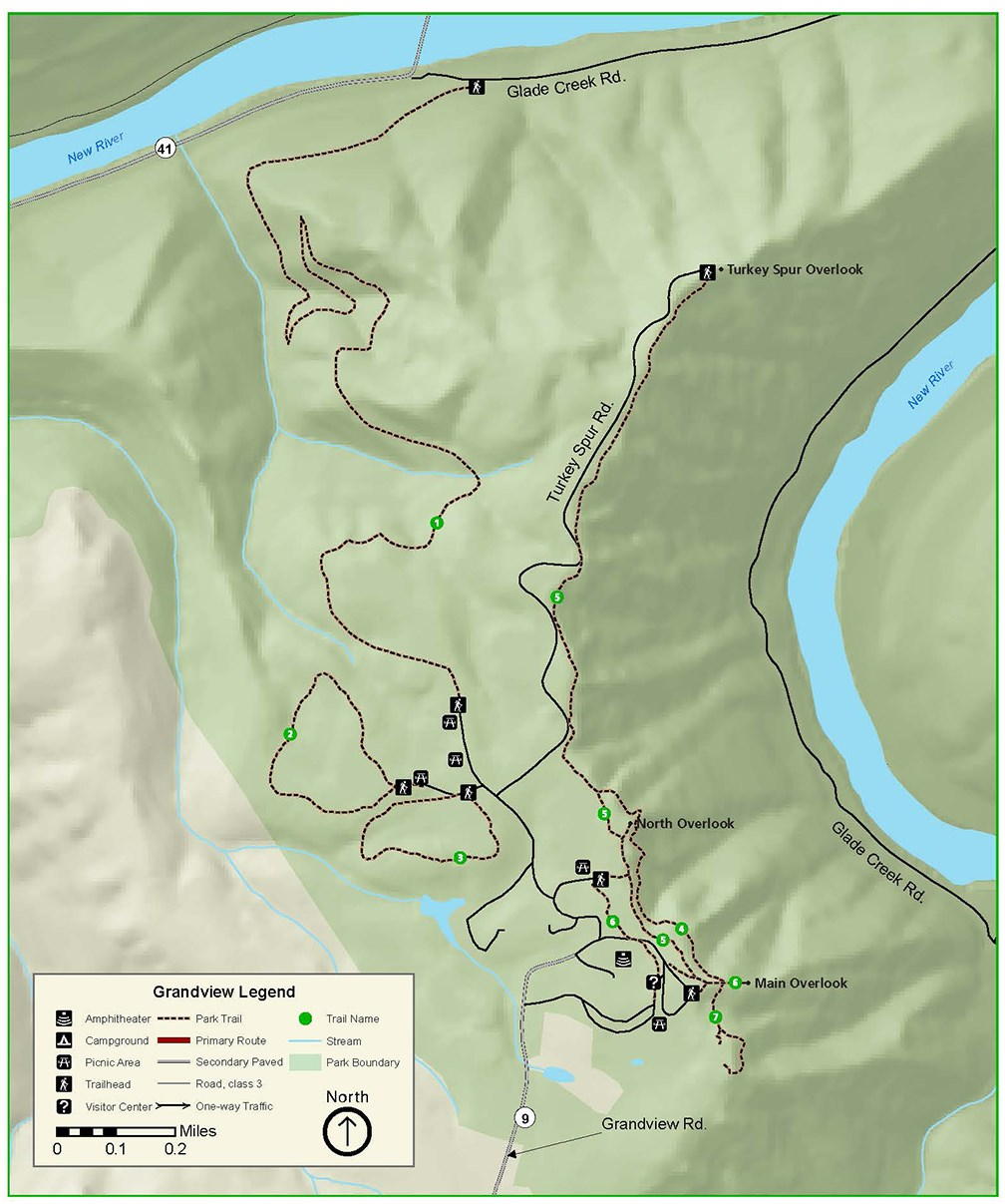 grandview hiking map new river gorge national river u s