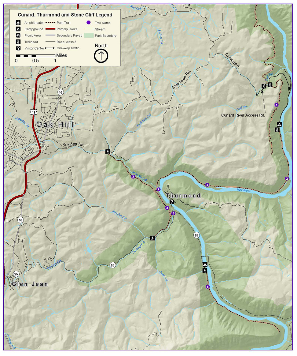 Thurmond Area Hiking Trails Map New River Gorge National River