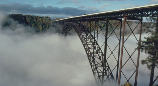 New River Gorge Bridge and Fog