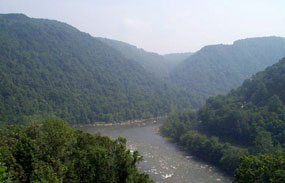 View of the New River from an overlook along the trail