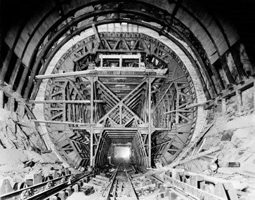 inside a tunnel under construction