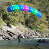 BASE jumper landing in river