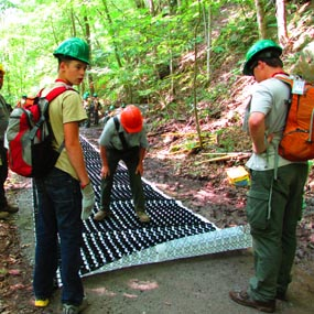 Boy Scout volunteers building an accessible trail