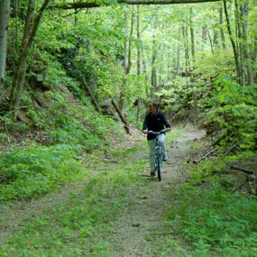 biking along an old railroad grade