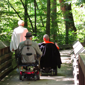 visitors in wheelchairs on the Sandstone Falls boardwalk