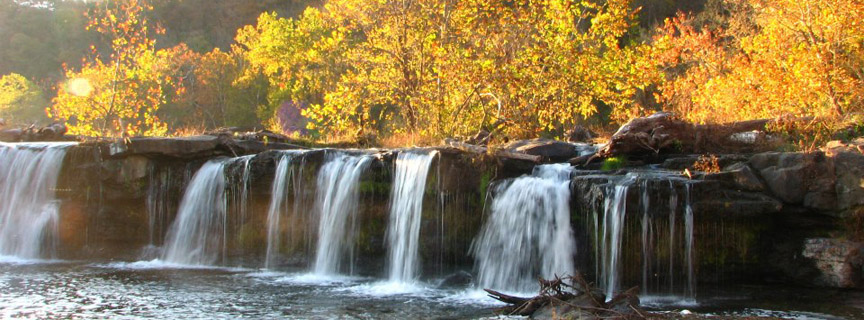 Sandstone Falls with fall colors