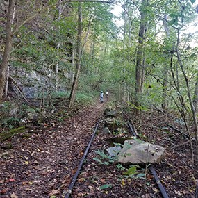 bicyclists riding on a trail through woods alongside old RR tracks