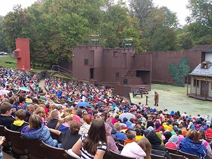 outdoor amphitheater filled with people