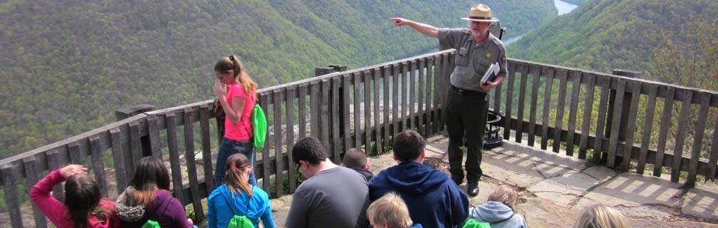 Ranger with students at overlook