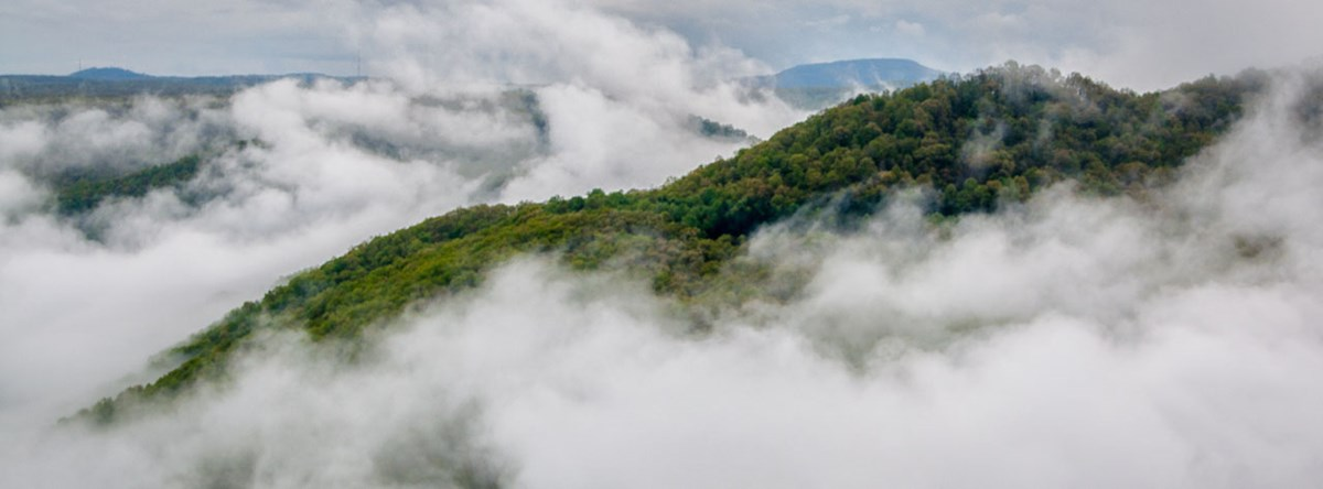 Clouds float through the gorge