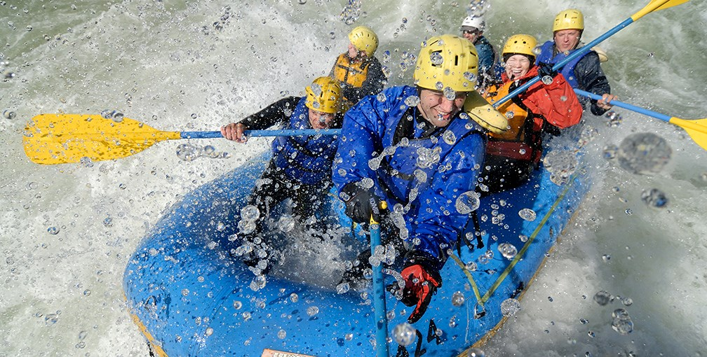close up of whitewater rafters