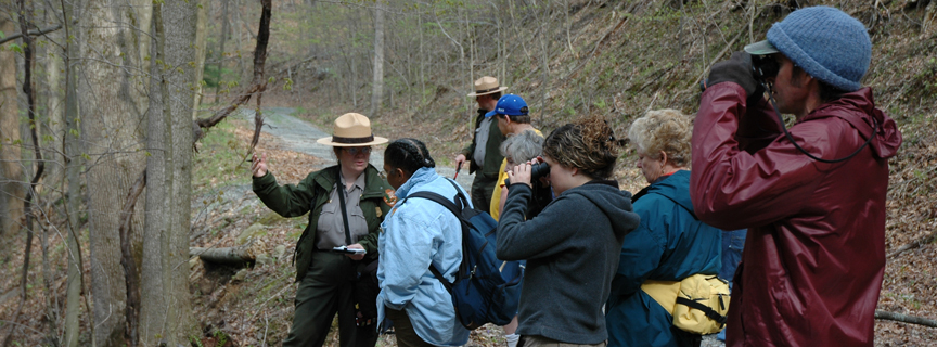 ranger talking to visitors