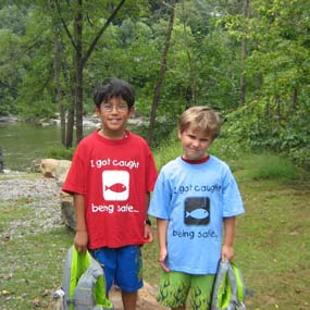two young visitors with water safety tee shirts