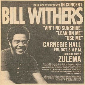 Bill Withers concert flier