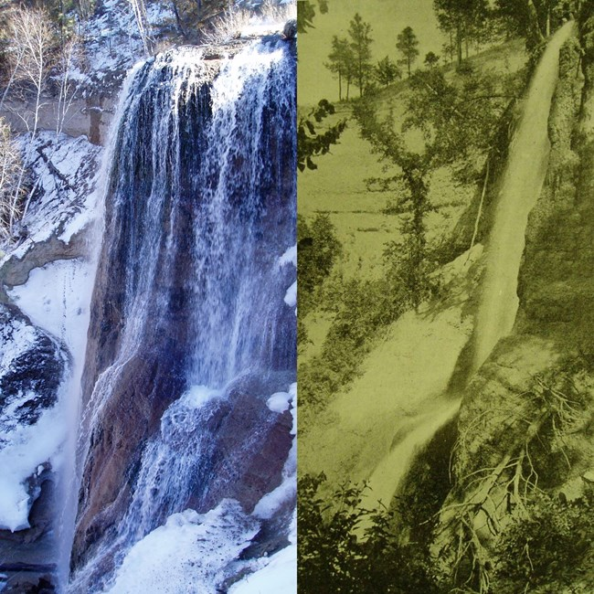 Combined photo of a modern Smith Falls and a historical photo of the waterfall