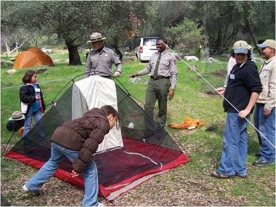 Setting up a tent can be confusing, but there's help during the CAMP program.
