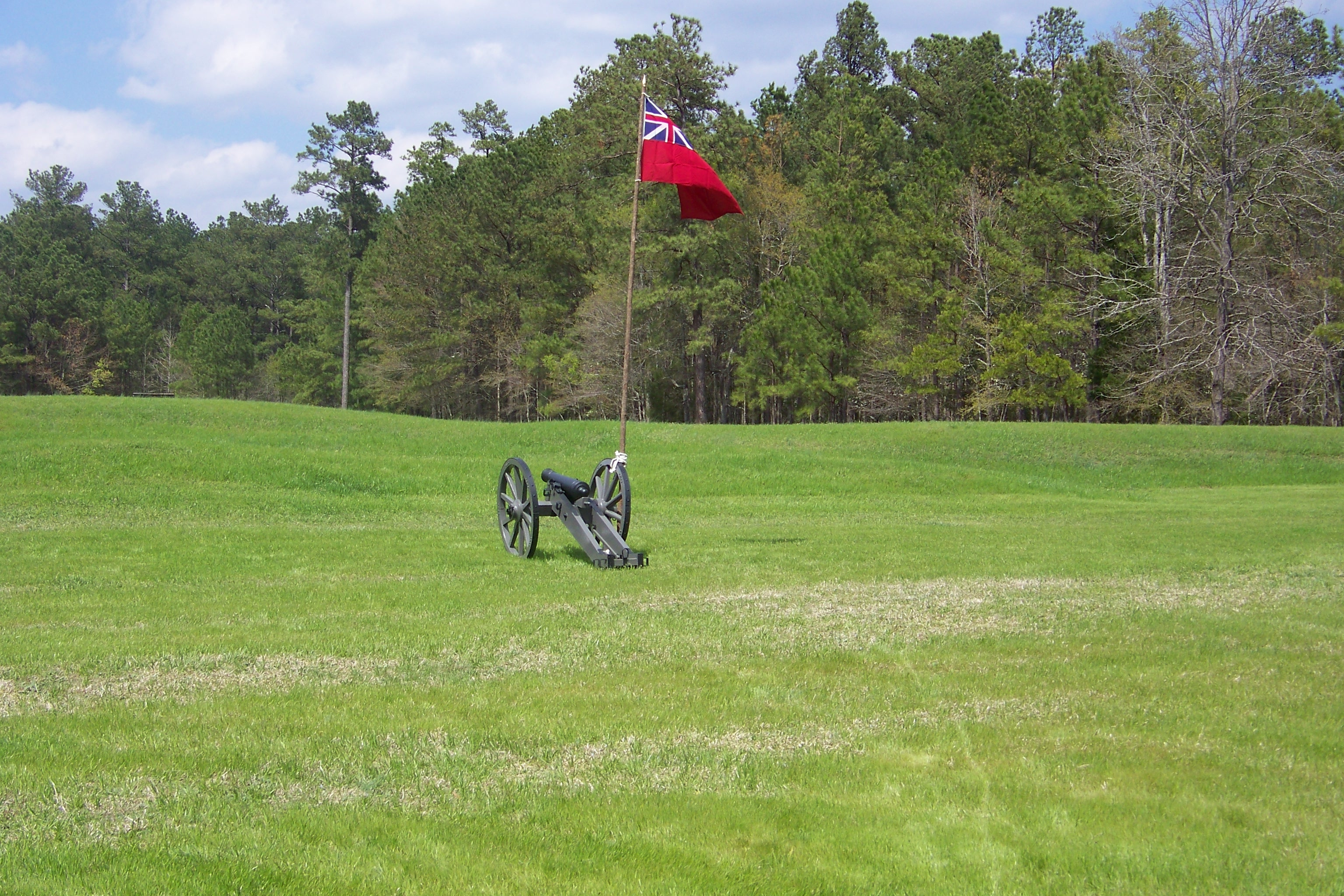 3 pound artillery with British colors inside star fort