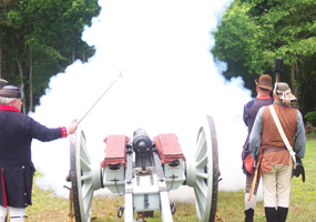 Firing the cannon for the 225th Anniversary celebration