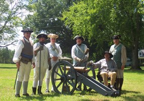 Reenactor cannon crew on August 19, 2006 for Living History saturday